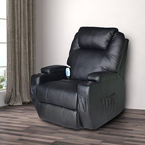 Homcom - Poltrona dondolo da Massaggio Poltrona Massaggiante Reclinabile Girevole a 360°in Simipelle 84 x 92 x 109cm Nero