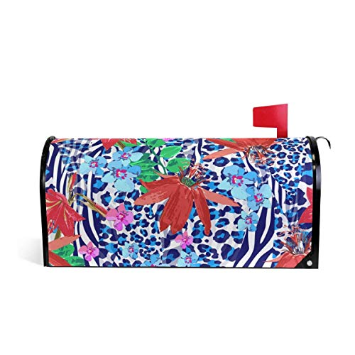 Red Zebra Cover (prz0vprz0v Blue Zebra and Red Flowers Pattern Magnetic Mailbox Cover 21 x 18 Inches Waterproof Canvas Mailbox Cover)