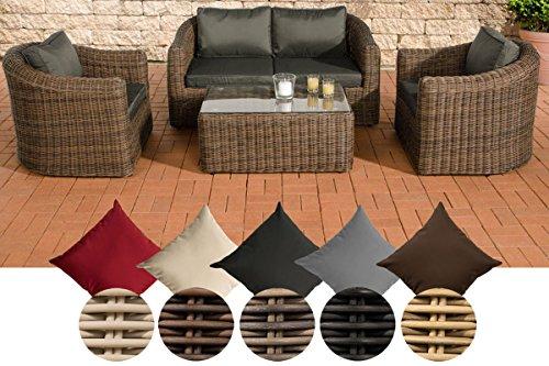 CLP Polyrattan-Sitzgruppe BERGEN inklusive Polsterauflagen | Garten-Set bestehend aus einem Loungetisch, einem 2er-Sofa und zwei Sesseln | In verschiedenen Farben erhältlich Rattan Farbe schwarz, Bezugfarbe: Terrabraun