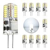 Gvoree 10er G4 LED Lampen 2.5W AC/DC 12V (20W Halogenlampen äquivalent) 180LM 360 Grad Abstrahlwinkel kaltweiß 6000K Nicht Dimmbar Kein Flimmern Silikon LED Glühbirne LED Birnen NEU (6000K Kaltweiß)