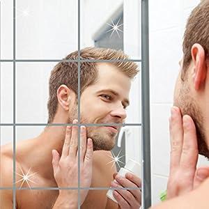 AOLVO Flexible Spiegelfolien, quadratisch, Badezimmerspiegel, Wandaufkleber, selbstklebend, verspiegelte Fliesen für Heimdekoration, 6 Stück