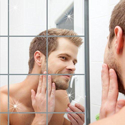 AOLVO Flexible Blatt, Quadratische Badezimmer Spiegel Wand Aufkleber Selbstklebend Spiegel Fliesen für Home Decor 6
