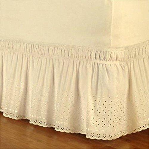 su-luoyu Falda de Cama de algodón Puro diseño de Volantes elástica Falda de Cama 60 * 80 + 15in (Beige)