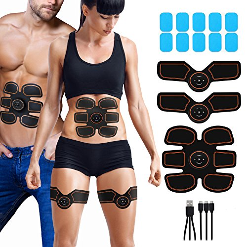APZOVO EMS Trainingsgerät Elektrostimulation, USB Wiederaufladbar Bauchmuskeltrainer für Damen und Herren, Arm Bauch Beine Muskelstimulator mit 6 Modi und 10 Intensitäten und 10 pcs Gel-Auflagen