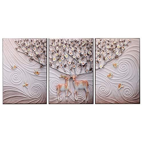 Yongyong Wandbild Moderne Minimalistische Wohnzimmer Dekorative Malerei Sofa Hintergrund 3D Elch Dreidimensionale Reliefmalerei 50 * 70 cm (größe : 50 * 70cm) - Malt Crystal