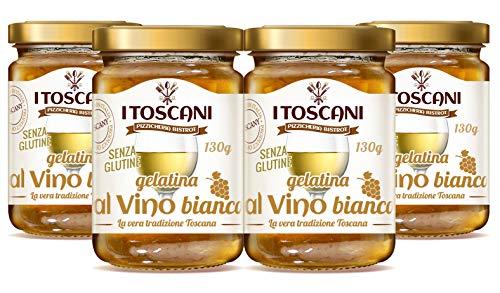 Gelatina al Vino Bianco, 4 confezioni da 130 g - i Toscani - Agrifood Toscana, Senza GLUTINE, senza CONSERVANTI aggiunti, italia
