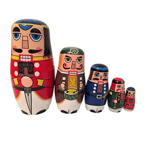 ULTNICE 5 piezas muñecas de anidación rusas Matryoshka madera nuez soldado apilamiento muñeca de juguete