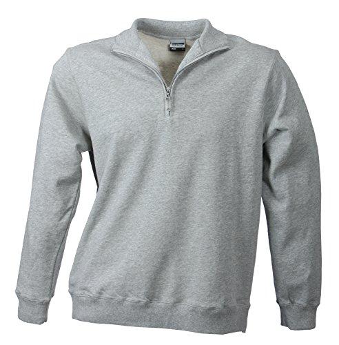 James & Nicholson Herren Round-Neck Zip Sweatshirt Grau (Sports-Grey)