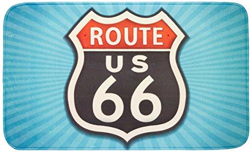 Wenko Vintage Route 66 Alfombra Baño, Poliéster, 75x45x275 cm
