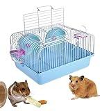 Tnkinuyi Hamsterkäfig - haltbarer Hamster-Matchmaking-Käfig, Hohe Zähigkeit PP-Kunststoff mit Gleitscheibe Spinning Flasche 3 Farben (Blau)
