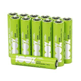 Akku Batterien AAA/Micro / HR03, NiMH, wiederaufladbar, 1,2 Volt (1,2V), 100% PeakPower 800mAh, LSD Technologie, Ready-to-Use - Akkus bereits vorgeladen, sofort nutzbar (12 Stück Akkubatterien)