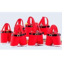 Buyer-first Christmas Santa pantaloni Stocking Filler regalo Trattare Presente Candy Bag 6PCS