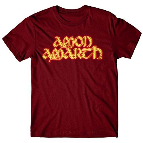 T-shirt Uomo Amon Amarth - Fire logo - Maglietta 100% cotone LaMAGLIERIA, S, Burgundy