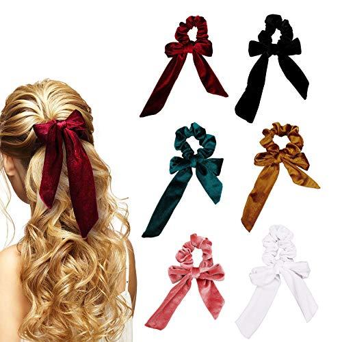 Elastici per capelli fiocco velluto elastici capelli fasce fermacoda per capelli corda fiocchi coda di cavallo accessori per le donne o ragazze 6 pezzi