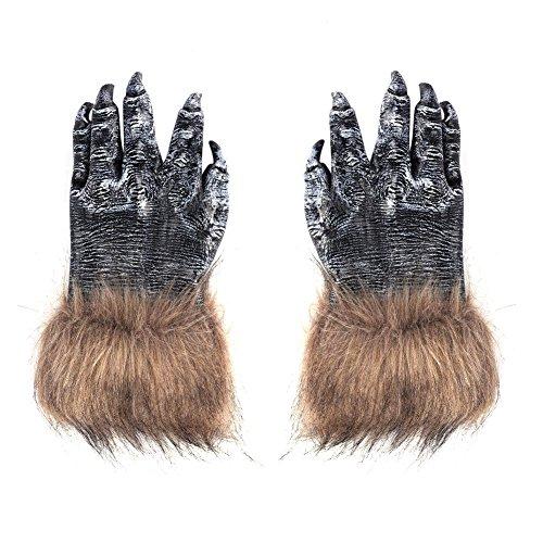 Halloween Maske Wolf mit Zahn Wolfmaske Horror Böse Maske Wolf Ganzkopf für Erwachsene Damen Herren Halloween Maske Wolf für Halloween Kostümparty Cosplay Fasching Werwolf Maske (werwolf handschuhe)