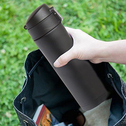 Thermos da viaggio da caffè per ufficio casa auto il tempo libero, 100% a prova di perdite, Sports Water Bottle, 450ml., Black Smoky Blue