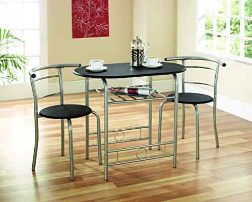 Gablemere Greenhurst - Juego de Mesa y 2 sillas para Comedor (armazón Negro)