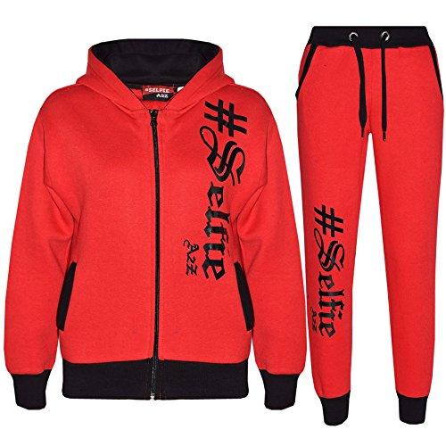 A2Z 4 Kids Kinder Mädchen Jungen Designer Trainingsanzug #Selfie 002 - Rot, 7-8 Jahre Designer-outfit