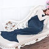 JFQ - Coperta trapuntata a forma di coda di sirena, per bambine e ragazze, lavorata a maglia e realizzata a mano, in materiale caldo adatto per tutte le stagioni, per divano e salotto, 180 x 90 cm, Tessuto, Navy, 79*37.4inches