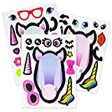 24 Haz un juego de pegatinas de Unicornio - 4 Actividad de artes y manualidades creativas para niños Fiestas de cumpleaños - Favores y rellenos para bolsas de regalos - juguetes para Unicorn fiestas
