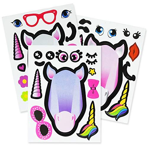 The Twiddlers 24 Einhorn Aufkleber Mitgebsel Sticker Tattoos Set - 4 Kreative Kunst & Handwerk - Ideal für Kleine Kindergeburtstag gastgeschenke - Kinder Party Bag & Pinata füllung