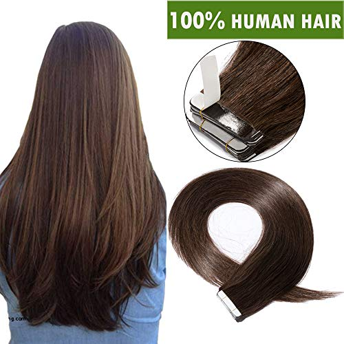 Extension capelli veri biadesivo human hair tape extensions biadesive 10 fasce adesive 100% remy marrone naturali 25g/pack senza clip (55cm, castano scuro)