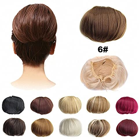 FESHFEN Bridal Hair Bun Updo Scrunchy Scrunchie Hairpiece Wig Hair Ribbon Ponytail Extensions Clips Straight Drawstring Hair Chignons Topknot Knot-6# Chestnut Brown
