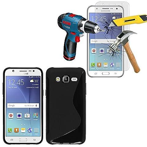 Samsung Galaxy J5 SM-J500F Coque HCN PHONE® S-Line TPU Gel Silicone couleur NOIR pour Samsung Galaxy J5 SM-J500F + 1 Film Verre Trempé
