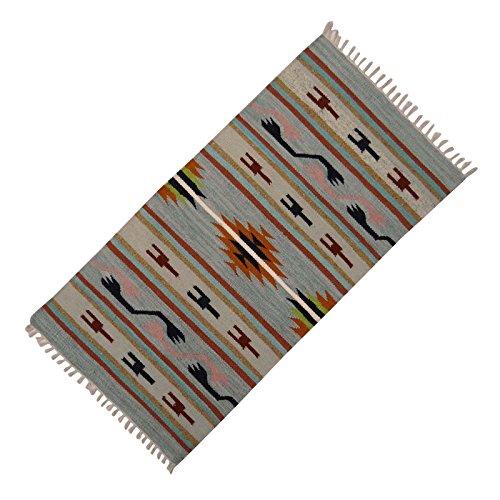 Baumwolle Streifen Werfen (Multicolour Indian Rug Jute Baumwolle Rags Streifen-Muster-Kind-Spiel Werfen Bodenmatte 54 x 27 Zoll)