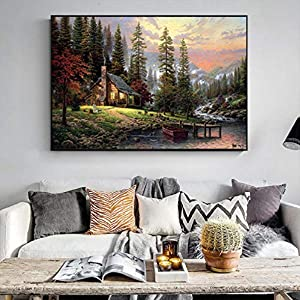 WUCHONGSHUAI Leinwanddruck,Malerei Auf Leinwand Wandkunst,Hd Print Poster,Wald Landschaft Leinwand Malerei Moderne Große Wandkunst Inkjet Pop Art Bild Für Wohnzimmer Wohnkultur