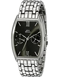 gino franco Men's 966GY Multi-Function Gunmetal Ion-Plated Stainless Steel Bracelet Watch