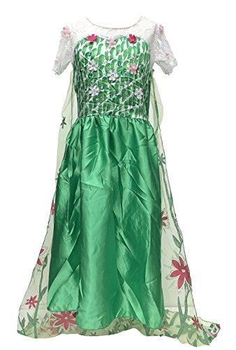 Kostüm Anna Frozen Fever - La Senorita - Elsa Frozen Fever Kleid Kostüm Eiskönigin Grün + Gratis Frozen Kette