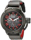 DETOMASO PANARO Herren-Armbanduhr XXL Solaruhr Analog Quarz schwarzes Lederarmband rot schwarzes Zifferblatt DT1054-B