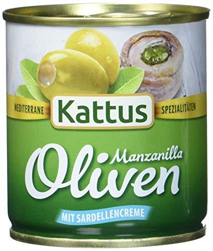 Kattus Spanische grüne Oliven, mit Sardellencreme gefüllt, 8er Pack (8 x 85 g)