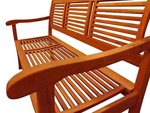 SAM® Garten-Bank Cordoba aus Akazie-Holz, 150 cm Breite, 3 Sitzer Holzbank, Balkon-Bank aus Akazie-Holz geölt, Garten-Möbel in braun, Massiv-Holz-Bank für Terrasse - 3