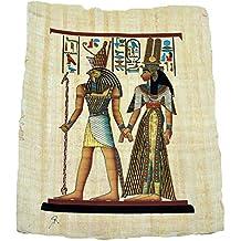 Horus y Nefertari sobre un Papiro Egipcio Original Hecho y Pintado a Mano de 33x43 cm