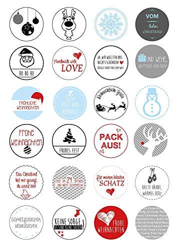 er mit lustigen Sprüchen, rund I Set weihnachtliche Geschenkaufkleber zum Verzieren I für Karten, Briefe, Geschenke I dv_055 ()