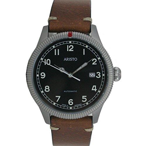 Aristo Reloj de hombre reloj de pulsera Automatic Vintage de reloj 3h190piel