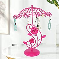 Jewelry Display Stand,Hanging Jewelry Organizer Display Holder with Ring Tray to Organize Necklaces Bracelets Earrings Rings and Watches Jewelry Stand Pink