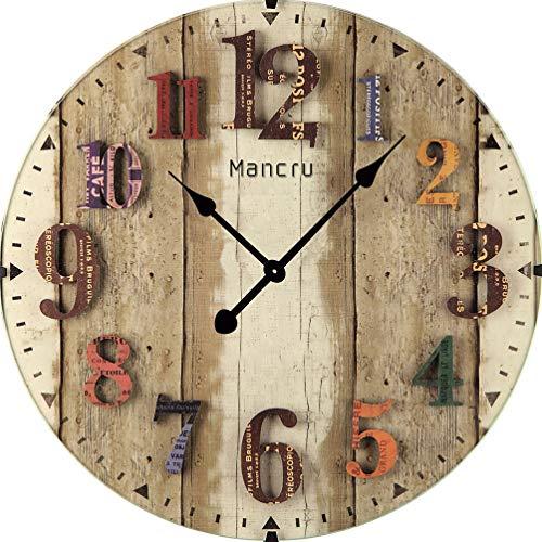 Mancru 1cm spessore vintage no cover silenzio orologio da parete shabby in legno grande rotondo non ticchettio quiet quarzo orologio da parete decorazione orologio da parete 10-50cm