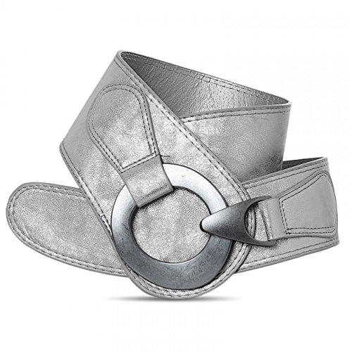 CASPAR GU243 Damen Taillengürtel, Länge:85;Farbe:silber metallic (Schuhe Gürtel Tasche)