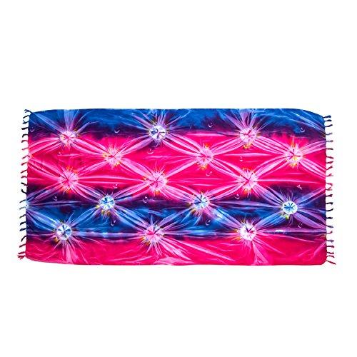 ManuMar Damen Sarong | Pareo Strandtuch | Leichtes Wickeltuch mit Fransen-Quasten (L: 115 x 225 cm, Rot Pink Blau)