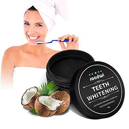 Aktivkohle Zahnaufhellung Pulver Roadwi Zahnaufhellung Activated Charcoal Teeth Whitening Powder für Zähne Weißer Machen Gesunde Reiniger - Minzgeschmack