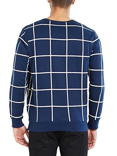 Maniac Men's Fullsleeve Checked Navy Cotton T-Shirt