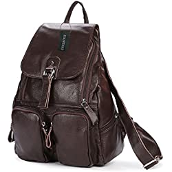 Greeniris Leather Backpack Women School Bag Rucksack Kaffee