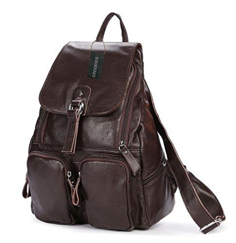 Greeniris Leather Backpack Women School Bag Rucksack Kaffee