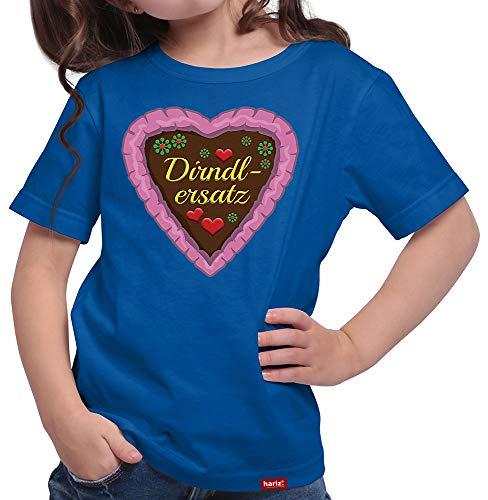 HARIZ  Mädchen T-Shirt Dirndlersatz Lebkuchen Oktoberfest Outfit Tracht Dirndl Lederhose Plus Geschenkarte Royal Blau 152/12-13 Jahre