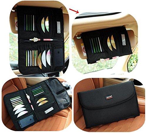 XY Life Auto PKW KFZ Sonnenblenden Organizer Tasche Aufbewahren (CD Aufbewahrung inkl Stifthalter für (12 CDs und Karte), Schwarz