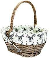 east2eden Antique Brown Willow Wicker Traditional Shopping Easter Basket with Stag Liner in Choice of Sizes & Deals (Large)
