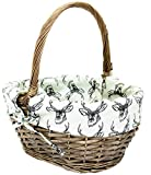 east2eden Antique Brown Willow Wicker Traditional Shopping Easter Basket with Stag Liner in Choice of Sizes & Deals (Medium)